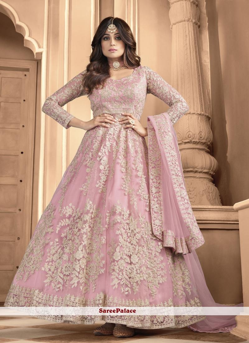 Shamita Shetty Pink Net Floor Length Anarkali Suit