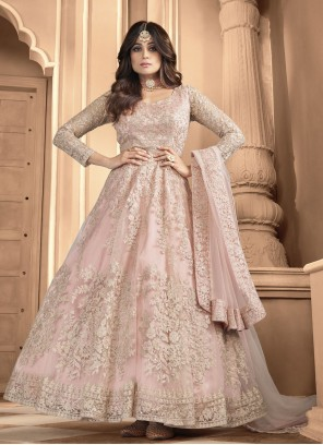 Shamita Shetty Pink Resham Floor Length Anarkali Suit