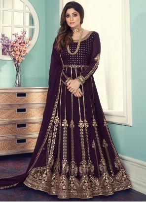 Shamita Shetty Purple Faux Georgette Designer Floor Length Suit