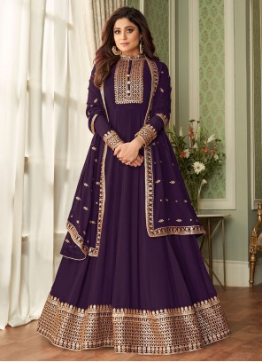 Shamita Shetty Purple Faux Georgette Floor Length Designer Suit