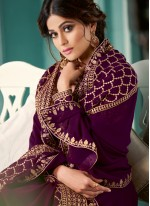 Shamita Shetty Purple Floor Length Anarkali Suit