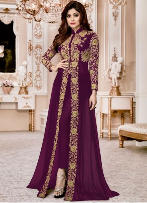 Shamita Shetty Purple Resham Work Designer Suit