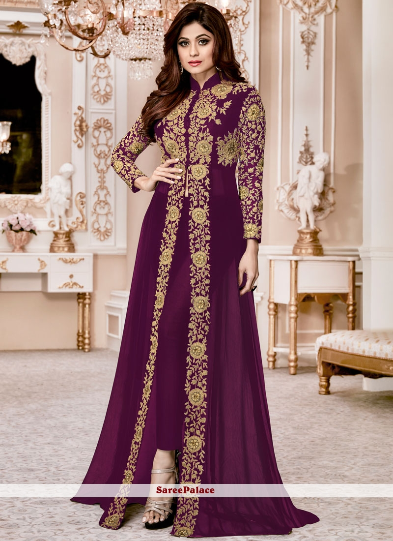 5eca9000fc Buy Shamita Shetty Purple Resham Work Designer Suit Online