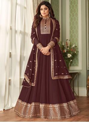 Shamita Shetty Resham Brown Faux Georgette Floor Length Designer Suit