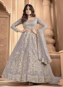 Shamita Shetty Resham Grey Net Floor Length Anarkali Suit