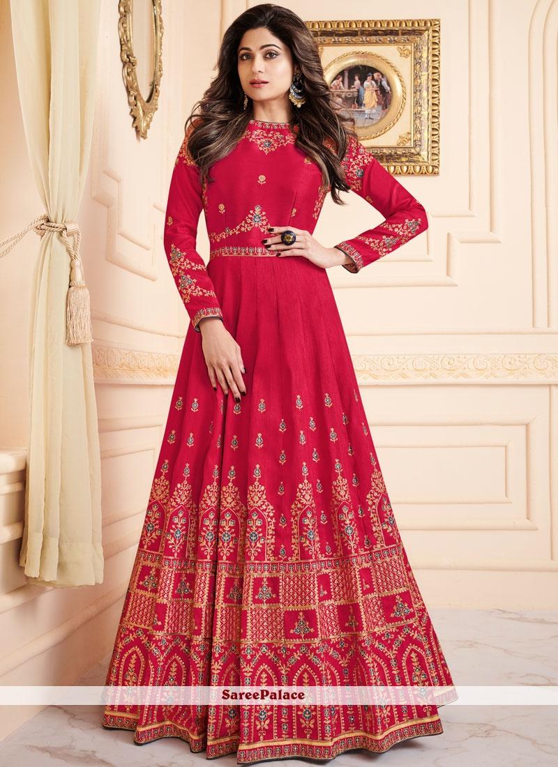 Shamita Shetty Resham Hot Pink Malbari Silk  Floor Length Anarkali Suit