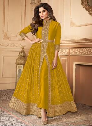 Shamita Shetty Resham Mustard Faux Georgette Designer Floor Length Suit