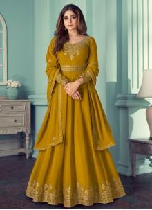 Shamita Shetty Resham Mustard Faux Georgette Designer Suit