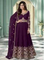 Shamita Shetty Resham Purple Faux Georgette Designer Suit