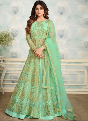 Shamita Shetty Satin Green Trendy Designer Lehenga Choli