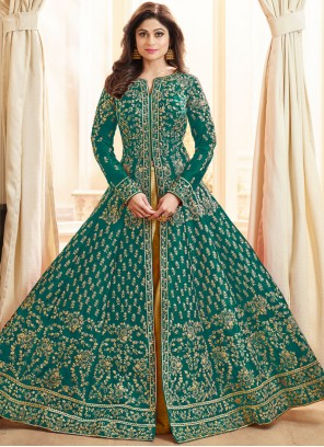 Shamita Shetty Sea Green Lace Long Choli Lehenga