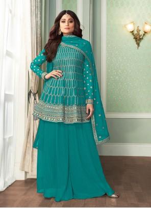 Shamita Shetty Turquoise Designer Palazzo Suit