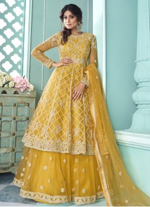 Shamita Shetty Yellow Resham Long Choli Lehenga