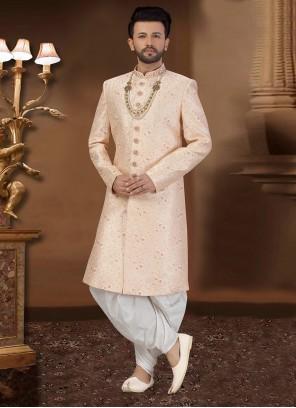 Sherwani Embroidered Art Silk in Pink
