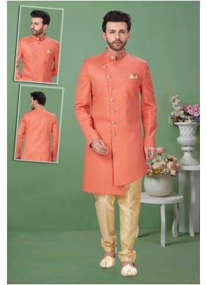 Sherwani Embroidered Fancy Fabric in Peach