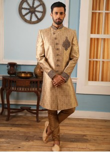 Sherwani Embroidered Jacquard Silk in Beige