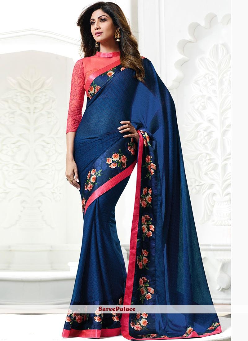 Shilpa Shetty Faux Georgette Printed Saree