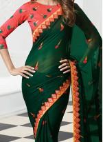 Shilpa Shetty Green Printed Saree