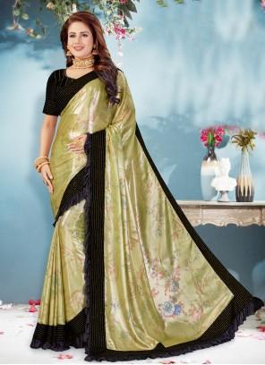 Shimmer Georgette Patch Border Green Classic Designer Saree