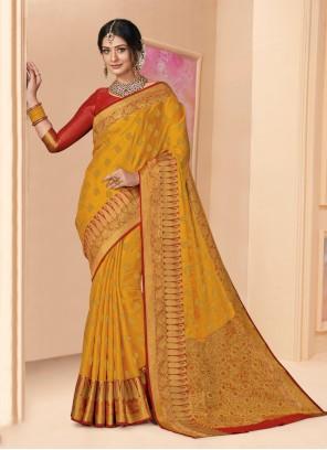 Shimmer Mustard Designer Saree