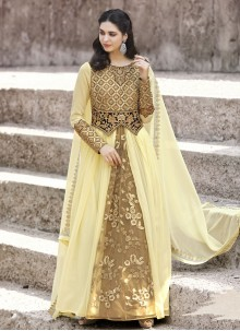 Sightly Embroidered Work Faux Georgette Floor Length Anarkali Suit