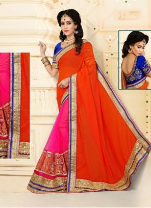 Sightly Hot Pink and Orange Designer Half N Half saree