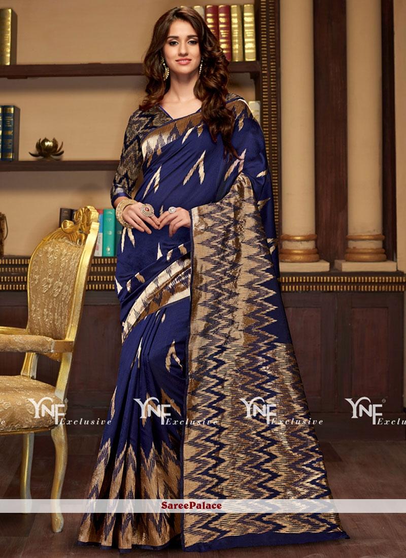 Sightly Navy Blue Weaving Work Traditional Designer Saree