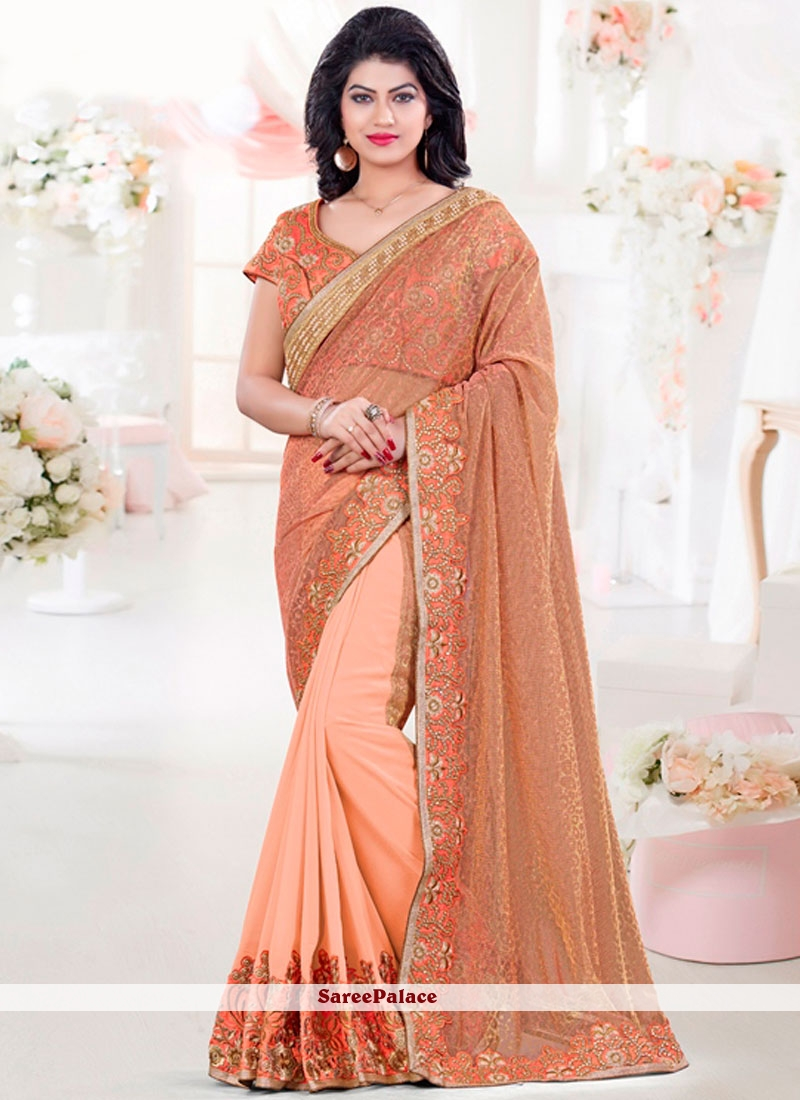 Sightly Orange Embroidered Work Classic Saree