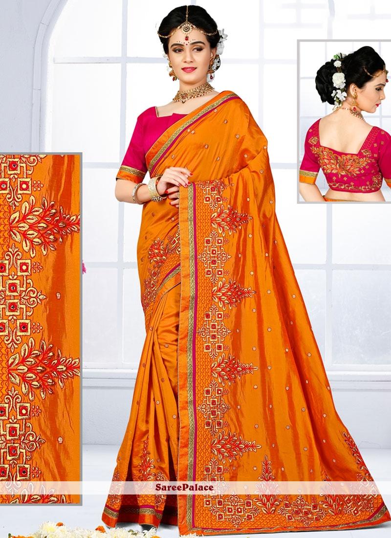 Sightly Orange Patch Border Work Art Silk Traditional Designer Saree