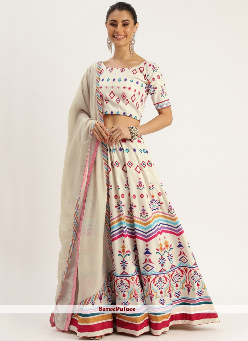 Silk Off White A Line Lehenga Choli