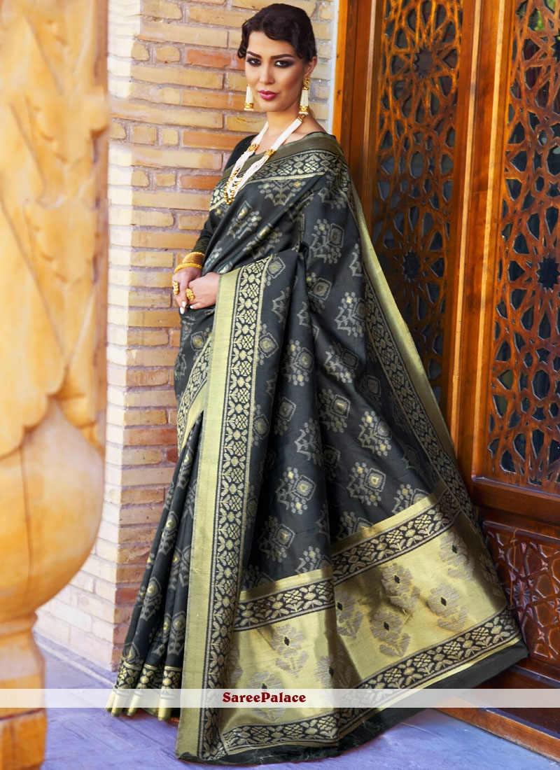 Silk Abstract Print Work Traditional  Saree