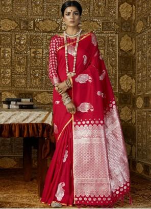 Silk Abstract Print Work Trendy Saree