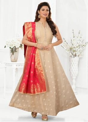 Silk Ankle Length Anarkali Salwar Suit in Cream