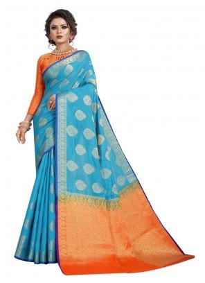 Silk Aqua Blue Classic Designer Saree