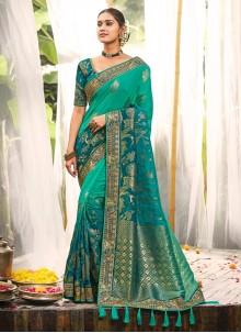 Silk Aqua Blue Resham Bollywood Saree