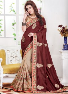 Silk Beige and Brown Embroidered Half N Half Designer Saree