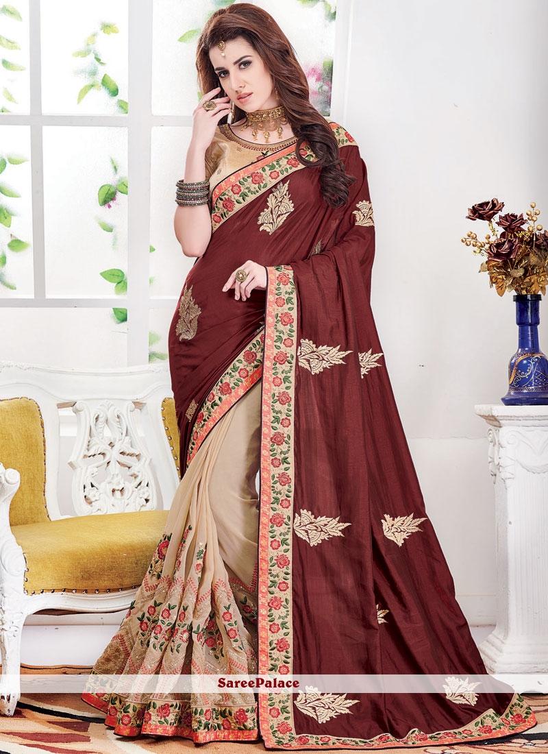 Silk Beige and Brown Embroidered Half N Half Designer Saree