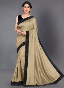 Silk Beige Designer Saree