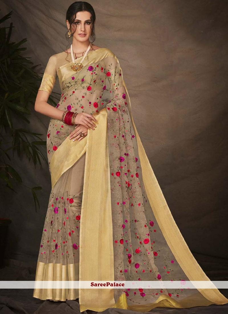 Silk Beige Embroidered Work Trendy Saree