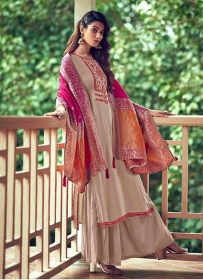 Silk Beige Palazzo Designer Salwar Suit