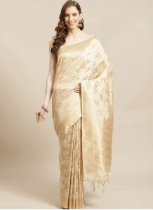 Silk Beige Weaving Designer Traditional Saree