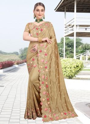 Silk Beige Zari Designer Bollywood Saree