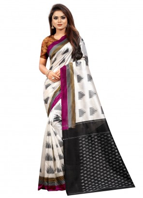 Silk Black and Off White Traditional Saree