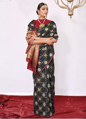 Silk Black Contemporary Saree