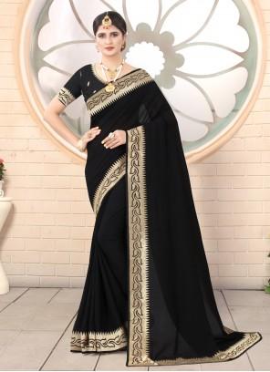 Silk Black Designer Traditional Saree