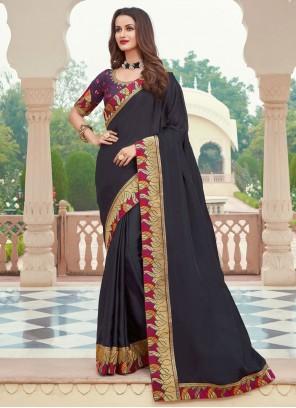 Silk Black Embroidered Designer Saree