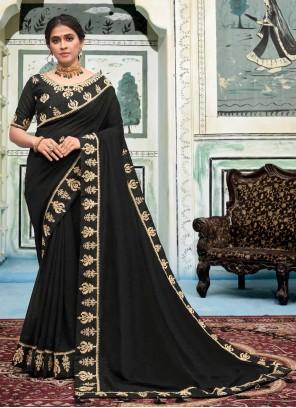 Silk Black Embroidered Trendy Saree