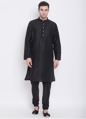 Silk Black Kurta Pyjama