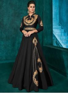Silk Black Trendy Anarkali Salwar Suit