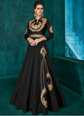 Silk Black Trendy Anarkali Salwar Suit
